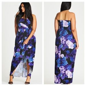 City Chic Hydrangea faux wrap maxi dress 24W